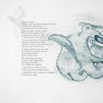 Organs Grind. 2010. Lithograph, photopolymer, and handset letterpress printed poem by artist.